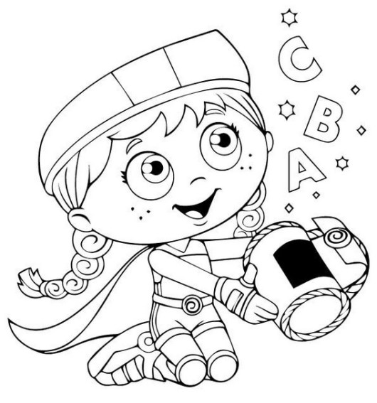 Wonder Red from Super Why Coloring Sheets