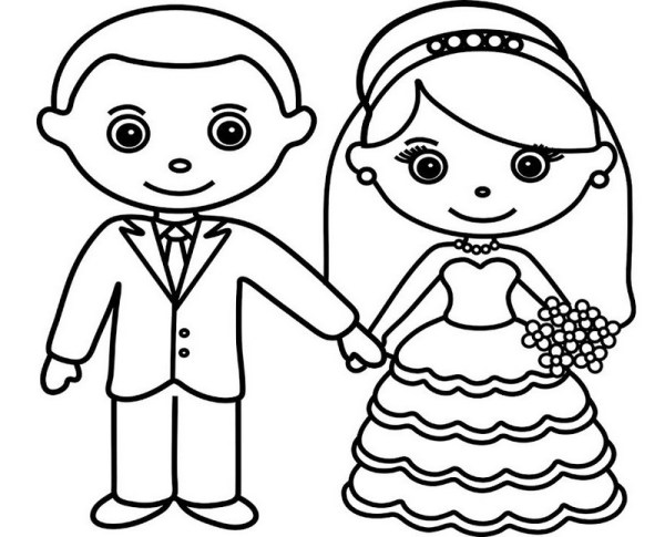bride and groom coloring pages # 26