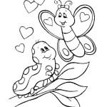 caterpillar meeting butterfly coloring sheet
