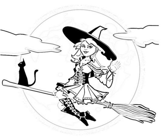 Fashiion Modern Witch Coloring Sheet