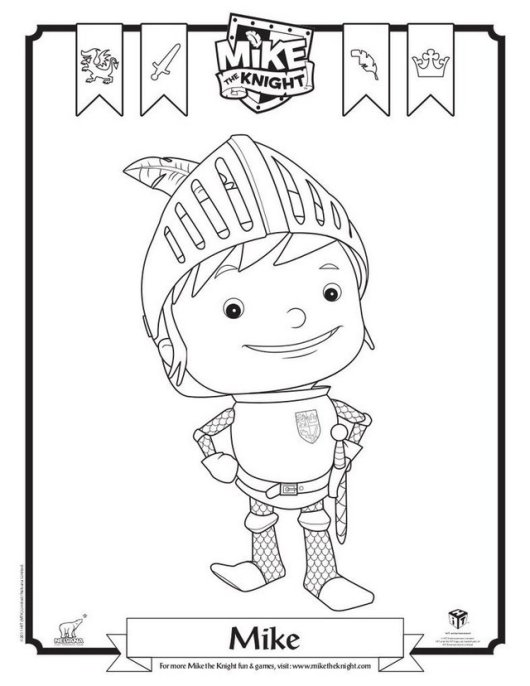 fun mike the knight coloring page