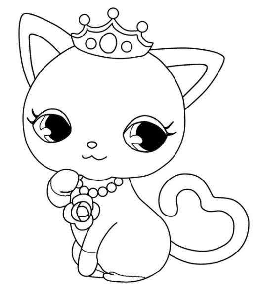 kitten Jewelpet coloring sheet for girls