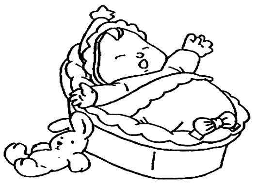 little baby fall asleep with a doll coloring page