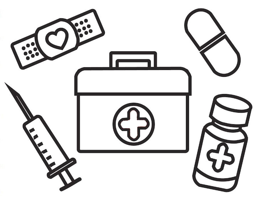 medical kit and first aid coloring page