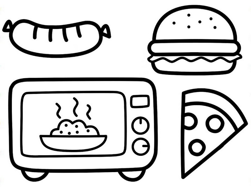 micowave cooking junkfood coloring picture for children