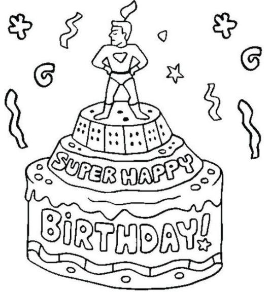 superhero themed birthday cake coloring pages