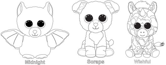Midnight Scraps Wishful from Beanie Boo Coloring Page