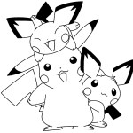 Playful Pichu and Pokemon Coloring Pages