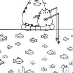 Pusheen Fishing themed Coloring Sheet