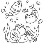 Pusheen the Cat Underwater Coloring Sheet