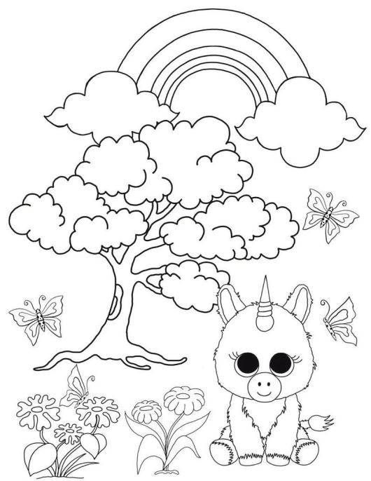 Ty Pixy the Unicorn Beanie Boo Coloring Picture