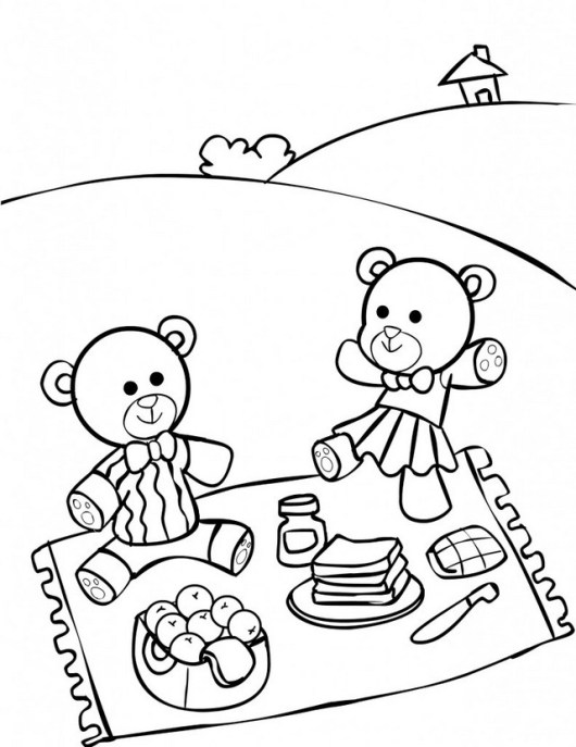 best teddy bear picnic coloring sheet