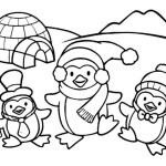 cute penguin in front of igloo coloring sheets