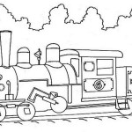 high detailed steam train coloring page