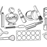 professional cosmetics makeup kit coloring sheet