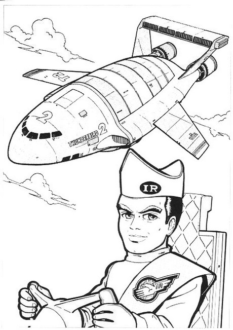 top thunderbirds and pilot colouring pages