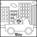 Furby riding a car coloring page