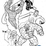 Mr Fantastic Invisible Woman The Human Torch The Thing from Fantastic 4 Coloring Page