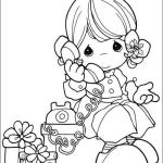 PRECIOUS MOMENTS Calling via Phone to say Happy Birthday Coloring Sheet