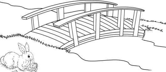 best wooden bridge in village coloring page