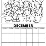 december calendar with Christmas theme coloring page