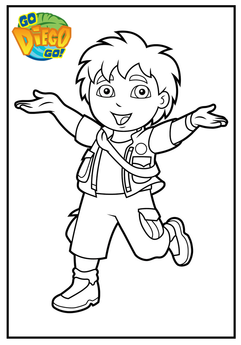 epic diego explorer coloring page