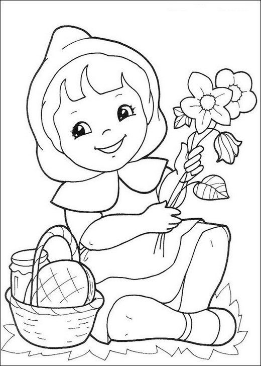 fun little red riding hood picking flowers coloring sheet