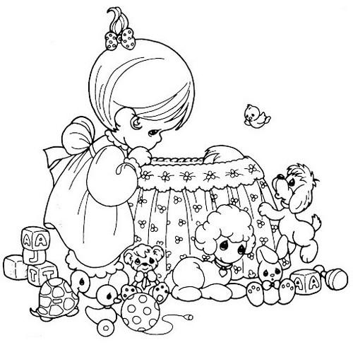 precious moments baby shower coloring sheet