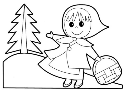 red riding hood cartoon coloring pages for children