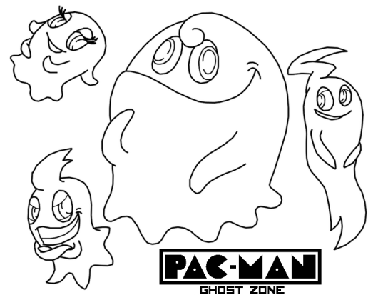 scary pacman ghost coloring pages