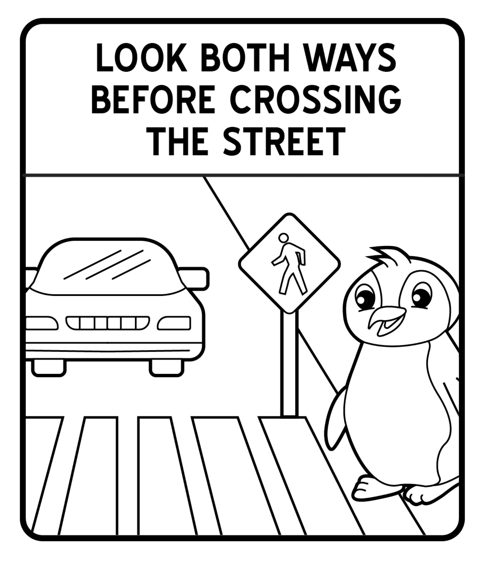 Safety Sign Crossing The Street Coloring Page