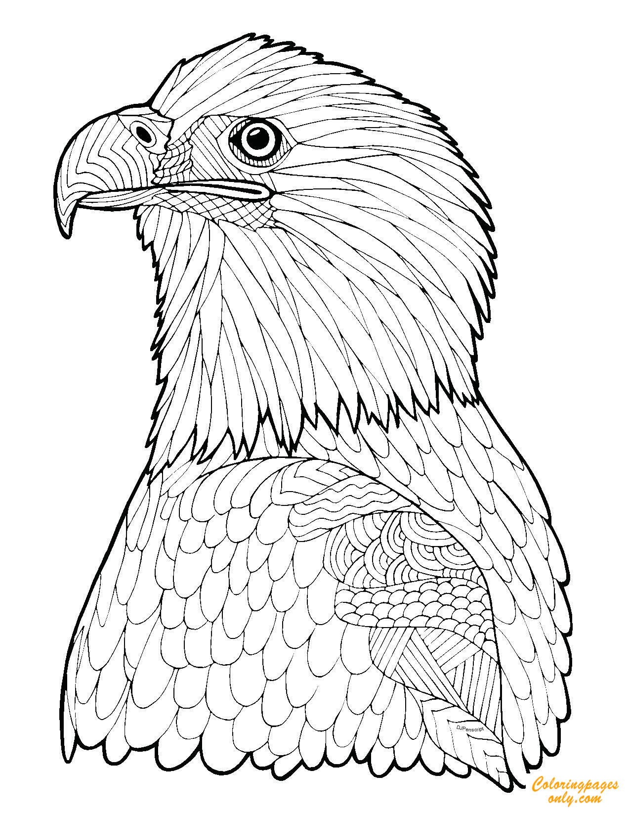 Zentangle Eagle Coloring Page