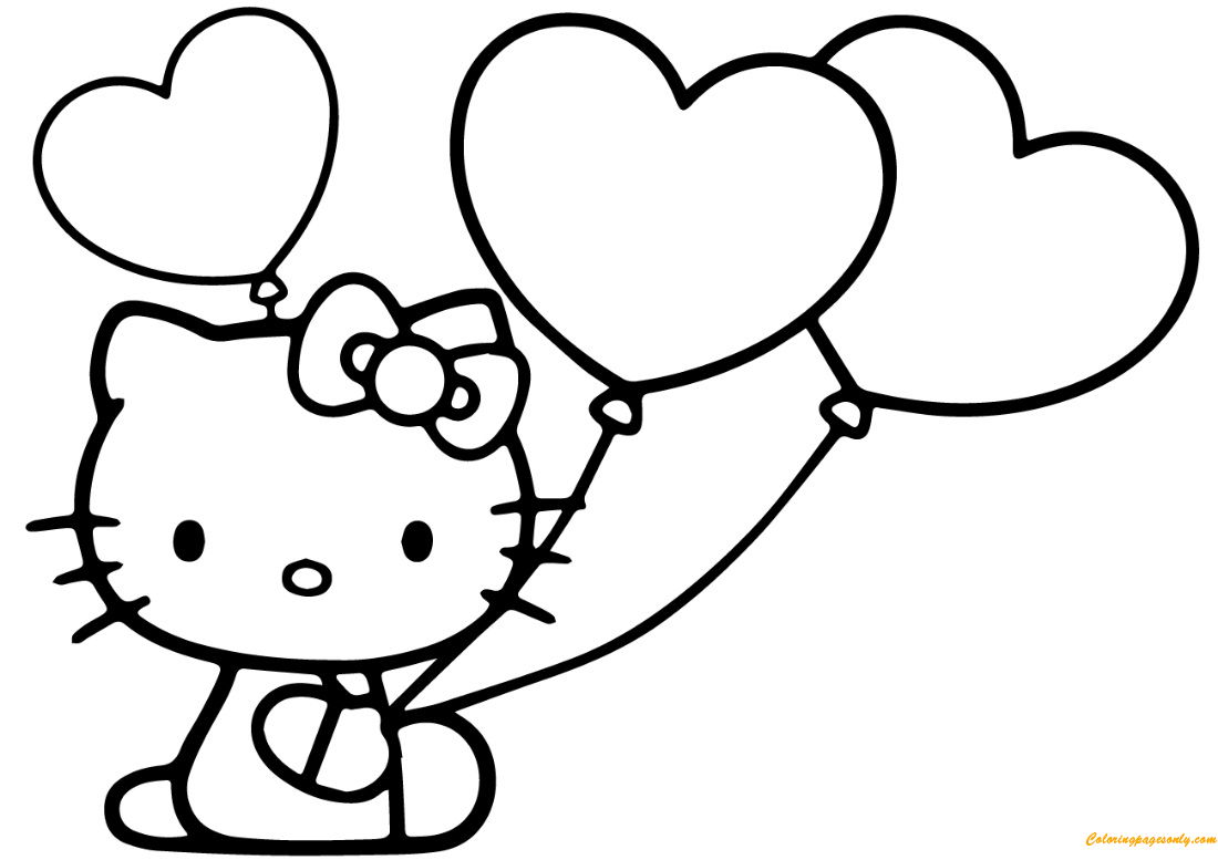 Hello Kitty With Heart Balloons Coloring Page Free Coloring