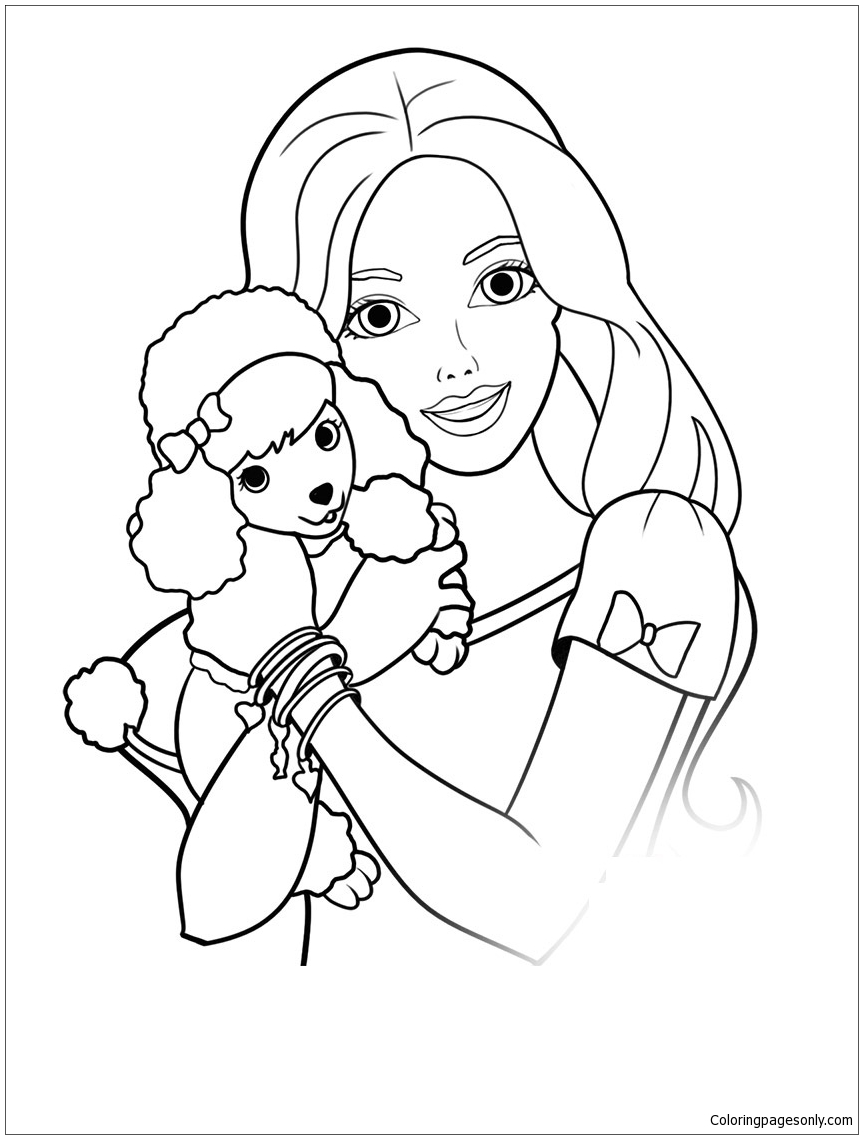 Barbie And Puppy Coloring Page Free Coloring Pages Online