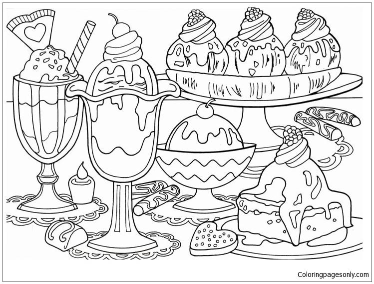 Printable Dessert Food Coloring Pages Novocom Top