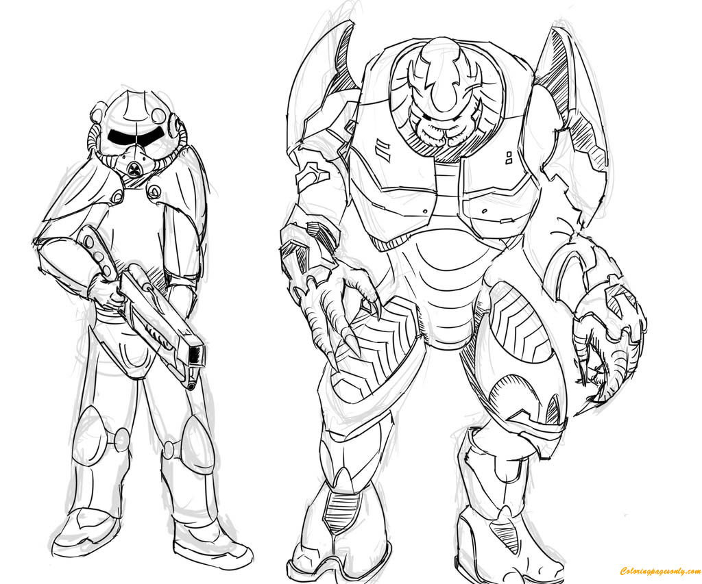 Brotherhood Of Steel And Elites From Halo Coloring Page