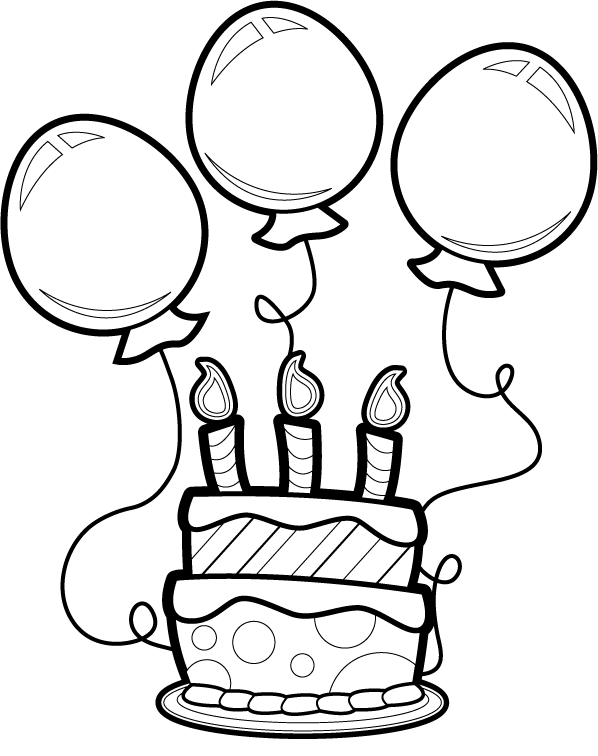 Cake And Balloon Birthday Coloring Pages Happy Birthday Coloring Pages Coloring Pages For Kids And Adults