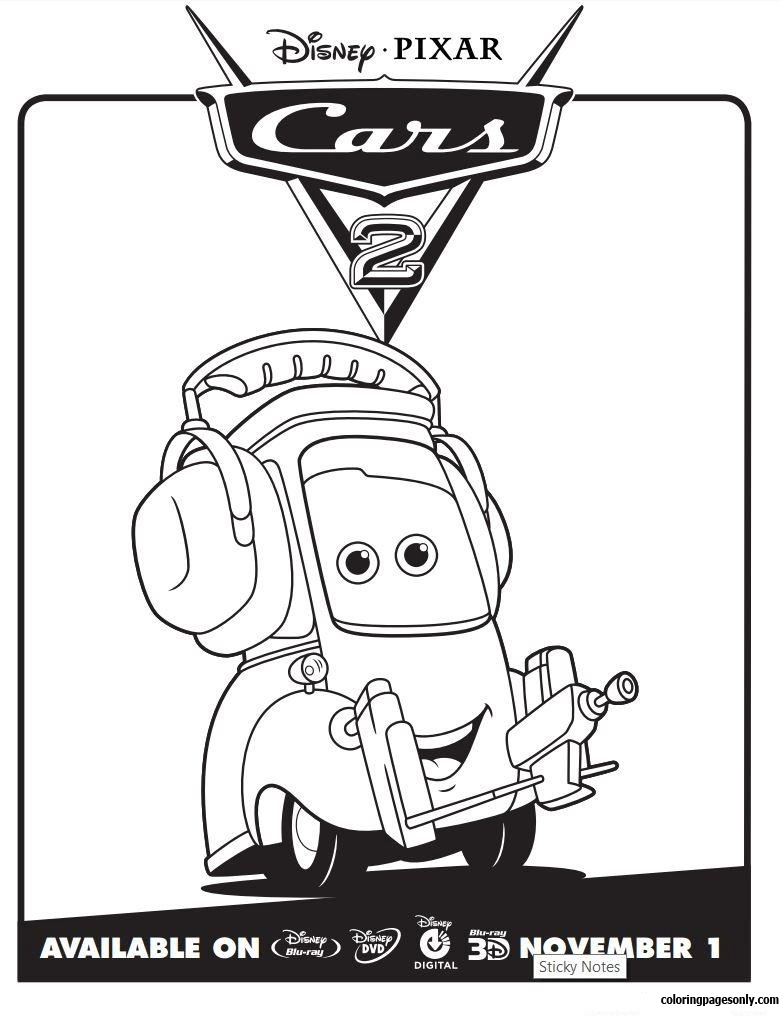 Cars 2 Movie Not Chuck Disney Coloring Page Free Coloring Pages