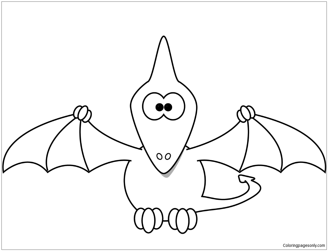 Cartoon Pterodactyl Coloring Page