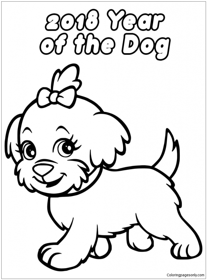 Chinese New Year Dog Coloring Page Free Coloring Pages Online