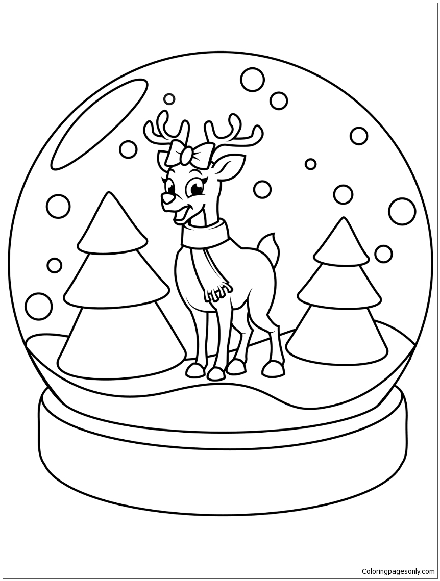 Christmas Snow Globe With Reindeer Coloring Page Free Coloring