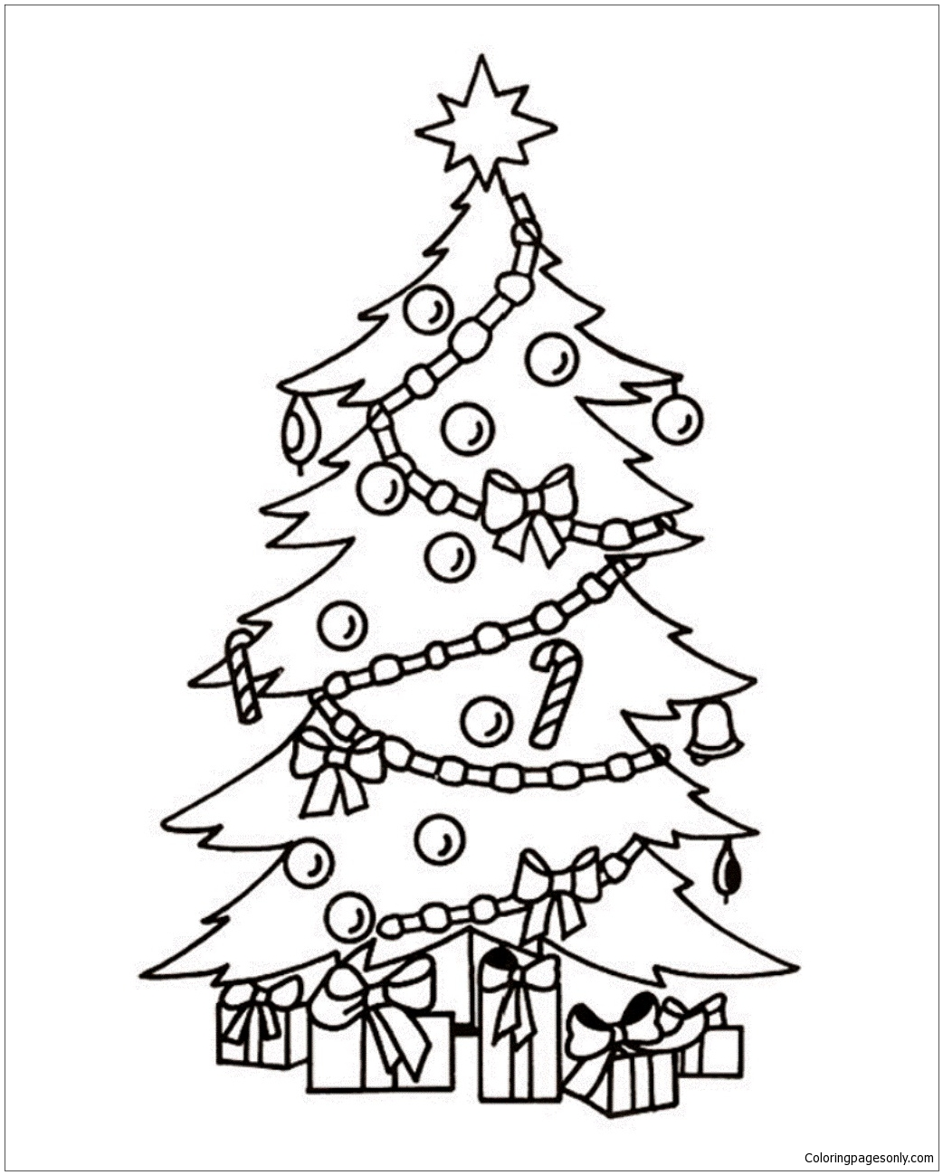 Christmas Tree And Presents 1 Coloring Page Free Coloring Pages