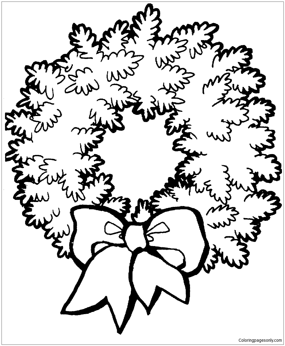 Christmas Wreath With Bow Coloring Page Free Coloring Pages Online