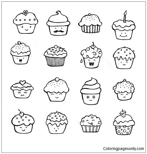 Cute Cupcake Doodles Coloring Page Free Coloring Pages Online