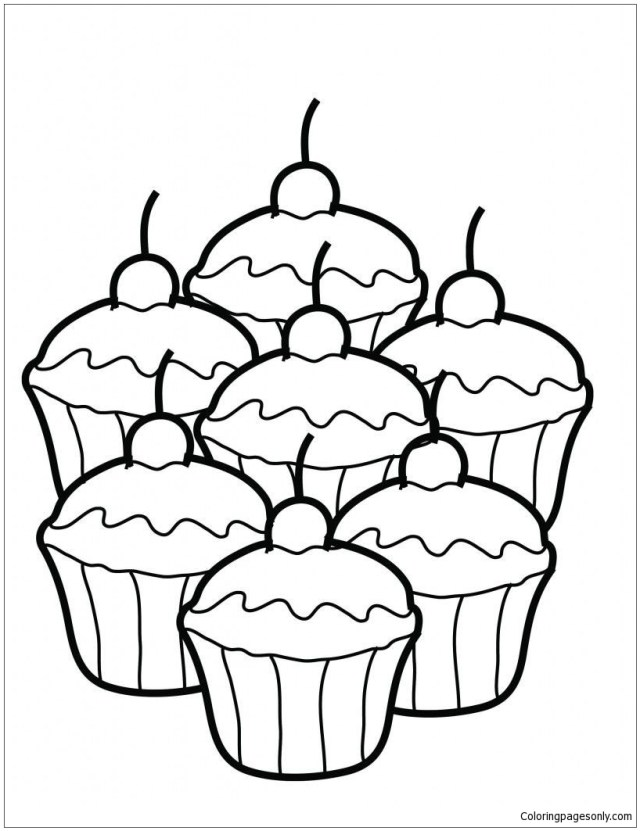 Cute Dessert Coloring Pages - Desserts Coloring Pages - Coloring