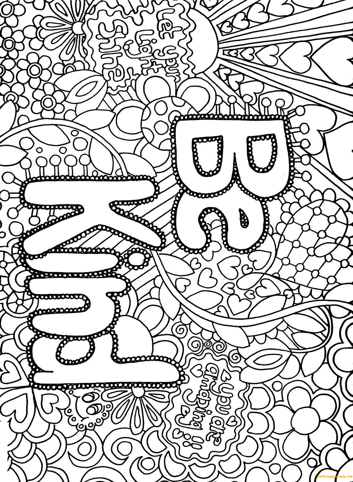 Difficult Advanced Letter Be Kind Coloring Page