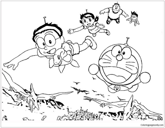 Doraemon And Friends With Dinosaurs Coloring Pages - Doraemon
