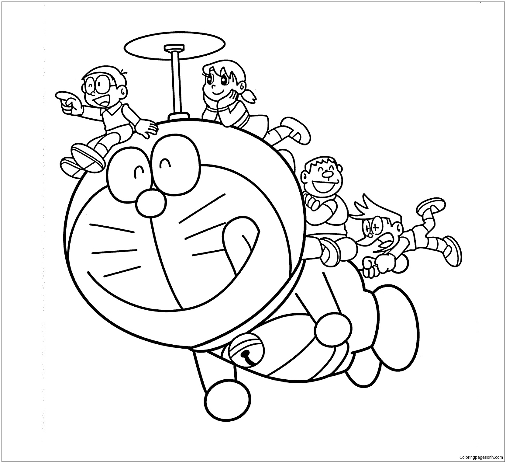Doraemon Helicopter Coloring Page Free Coloring Pages Online