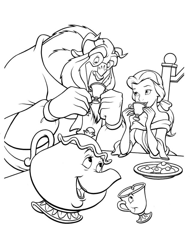 Drink together Coloring Pages - Beauty and the Beast Coloring