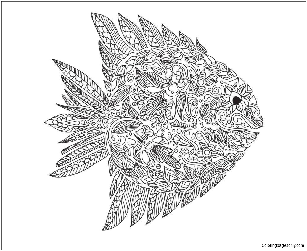 Fish Zentangle Coloring Page Free Coloring Pages Online